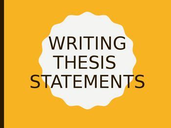 How to write a thesis satement